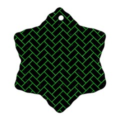 Brick2 Black Marble & Green Colored Pencil Snowflake Ornament (two Sides) by trendistuff