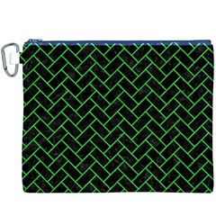 Brick2 Black Marble & Green Colored Pencil Canvas Cosmetic Bag (xxxl) by trendistuff