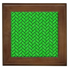 Brick2 Black Marble & Green Colored Pencil (r) Framed Tiles by trendistuff