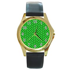Brick2 Black Marble & Green Colored Pencil (r) Round Gold Metal Watch by trendistuff