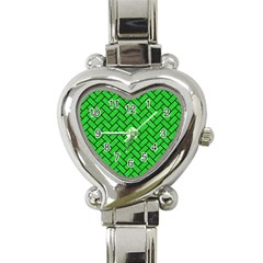 Brick2 Black Marble & Green Colored Pencil (r) Heart Italian Charm Watch by trendistuff