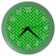 Brick2 Black Marble & Green Colored Pencil (r) Color Wall Clocks by trendistuff