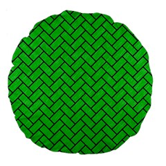 Brick2 Black Marble & Green Colored Pencil (r) Large 18  Premium Flano Round Cushions by trendistuff