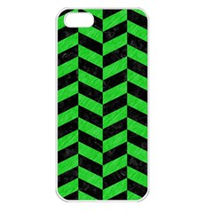 Chevron1 Black Marble & Green Colored Pencil Apple Iphone 5 Seamless Case (white) by trendistuff