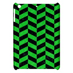 Chevron1 Black Marble & Green Colored Pencil Apple Ipad Mini Hardshell Case by trendistuff