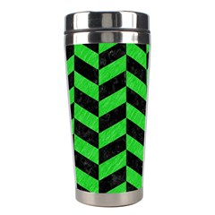 Chevron1 Black Marble & Green Colored Pencil Stainless Steel Travel Tumblers by trendistuff