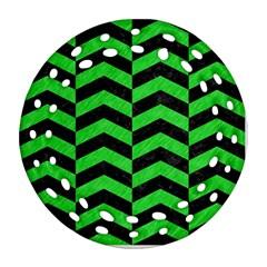 Chevron2 Black Marble & Green Colored Pencil Ornament (round Filigree) by trendistuff