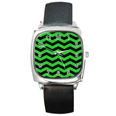 Chevron3 Black Marble & Green Colored Pencil Square Metal Watch by trendistuff