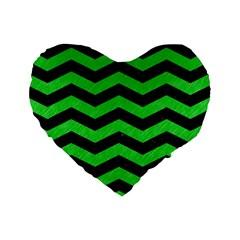 Chevron3 Black Marble & Green Colored Pencil Standard 16  Premium Heart Shape Cushions by trendistuff