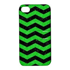 Chevron3 Black Marble & Green Colored Pencil Apple Iphone 4/4s Hardshell Case With Stand by trendistuff