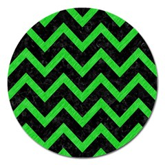 Chevron9 Black Marble & Green Colored Pencil Magnet 5  (round) by trendistuff