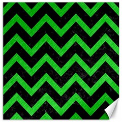 Chevron9 Black Marble & Green Colored Pencil Canvas 16  X 16   by trendistuff