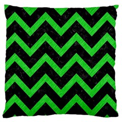 Chevron9 Black Marble & Green Colored Pencil Large Cushion Case (two Sides) by trendistuff
