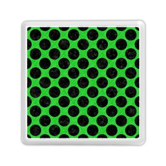 Circles2 Black Marble & Green Colored Pencil (r) Memory Card Reader (square)