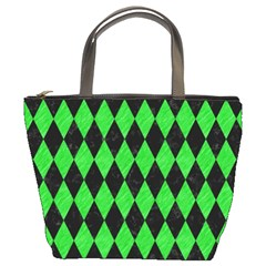 Diamond1 Black Marble & Green Colored Pencil Bucket Bags by trendistuff