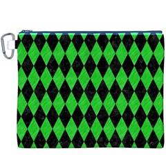 Diamond1 Black Marble & Green Colored Pencil Canvas Cosmetic Bag (xxxl) by trendistuff