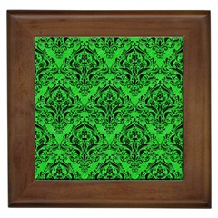 Damask1 Black Marble & Green Colored Pencil (r) Framed Tiles by trendistuff