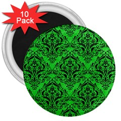 Damask1 Black Marble & Green Colored Pencil (r) 3  Magnets (10 Pack)  by trendistuff