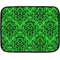 Damask1 Black Marble & Green Colored Pencil (r) Double Sided Fleece Blanket (mini)  by trendistuff
