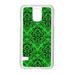 Damask1 Black Marble & Green Colored Pencil (r) Samsung Galaxy S5 Case (white) by trendistuff