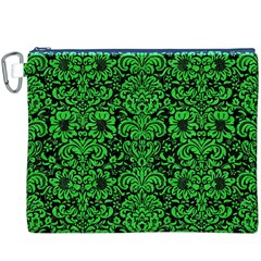 Damask2 Black Marble & Green Colored Pencil Canvas Cosmetic Bag (xxxl) by trendistuff