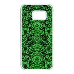 Damask2 Black Marble & Green Colored Pencil Samsung Galaxy S7 White Seamless Case by trendistuff