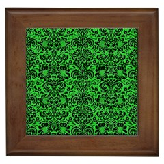 Damask2 Black Marble & Green Colored Pencil (r) Framed Tiles by trendistuff