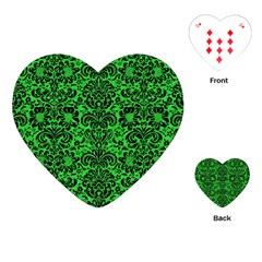 Damask2 Black Marble & Green Colored Pencil (r) Playing Cards (heart)  by trendistuff