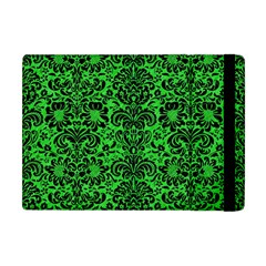 Damask2 Black Marble & Green Colored Pencil (r) Apple Ipad Mini Flip Case by trendistuff