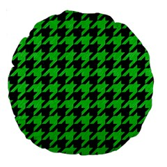 Houndstooth1 Black Marble & Green Colored Pencil Large 18  Premium Round Cushions by trendistuff