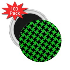 Houndstooth2 Black Marble & Green Colored Pencil 2 25  Magnets (100 Pack)