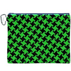 Houndstooth2 Black Marble & Green Colored Pencil Canvas Cosmetic Bag (xxxl) by trendistuff