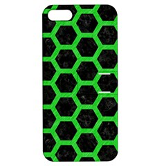 Hexagon2 Black Marble & Green Colored Pencil Apple Iphone 5 Hardshell Case With Stand by trendistuff