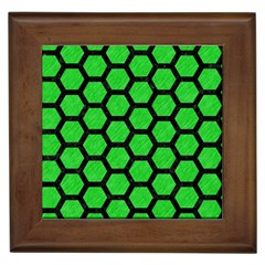 Hexagon2 Black Marble & Green Colored Pencil (r) Framed Tiles by trendistuff