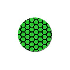 Hexagon2 Black Marble & Green Colored Pencil (r) Golf Ball Marker (10 Pack) by trendistuff