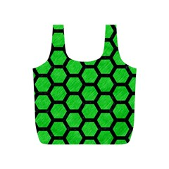 Hexagon2 Black Marble & Green Colored Pencil (r) Full Print Recycle Bags (s)  by trendistuff