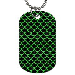 Scales1 Black Marble & Green Colored Pencil Dog Tag (two Sides) by trendistuff