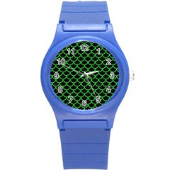Scales1 Black Marble & Green Colored Pencil Round Plastic Sport Watch (s) by trendistuff