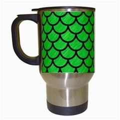 Scales1 Black Marble & Green Colored Pencil (r) Travel Mugs (white) by trendistuff