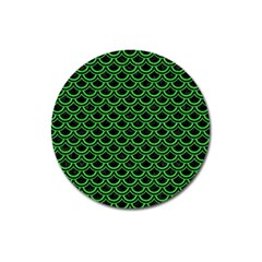 Scales2 Black Marble & Green Colored Pencil Magnet 3  (round) by trendistuff