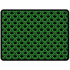 Scales2 Black Marble & Green Colored Pencil Double Sided Fleece Blanket (large)  by trendistuff