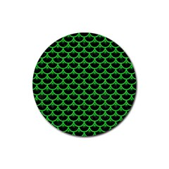 Scales3 Black Marble & Green Colored Pencil Rubber Round Coaster (4 Pack)  by trendistuff