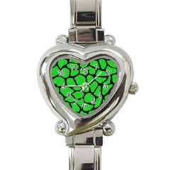 Skin1 Black Marble & Green Colored Pencil Heart Italian Charm Watch by trendistuff
