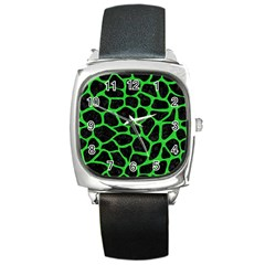 Skin1 Black Marble & Green Colored Pencil (r) Square Metal Watch by trendistuff