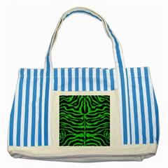 Skin2 Black Marble & Green Colored Pencil Striped Blue Tote Bag