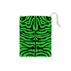 Skin2 Black Marble & Green Colored Pencil (r) Drawstring Pouches (small)  by trendistuff
