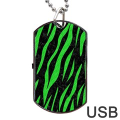 Skin3 Black Marble & Green Colored Pencil Dog Tag Usb Flash (one Side) by trendistuff