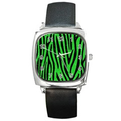 Skin4 Black Marble & Green Colored Pencil Square Metal Watch by trendistuff