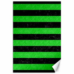 Stripes2 Black Marble & Green Colored Pencil Canvas 24  X 36  by trendistuff