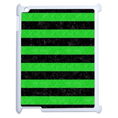 Stripes2 Black Marble & Green Colored Pencil Apple Ipad 2 Case (white) by trendistuff